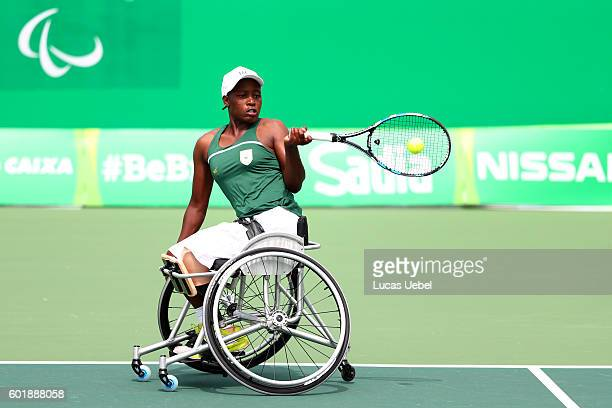 Kgothatso Montjane of South Africa competes in the wheelchair tennis at court 6 on day 3 of the Rio 2016 Paralympics on September 10 2016 in Rio de...