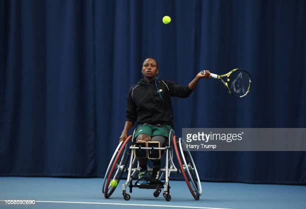 Kgothatso Montjane of South Africa plays a shot during Day Two of the Bath Indoor Wheelchair Tennis Tournament 2018 at the University of Bath on...