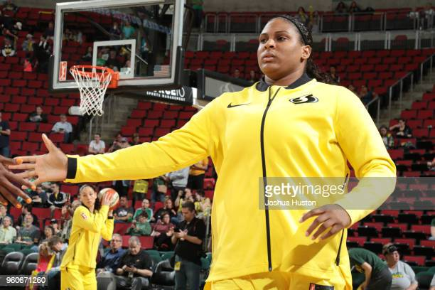 Khaalia Hillsman of the Seattle Storm is introduced before the game against the Phoenix Mercury on MAY 20 2018 at KeyArena in Seattle Washington NOTE...