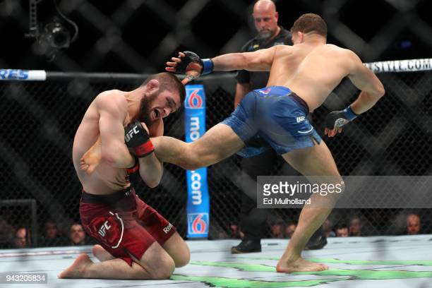 Khabib Nurmagomedov attempts a takedown on Al Iaquinta during their UFC lightweight championship bout at UFC 223 at Barclays Center on April 7 2018...