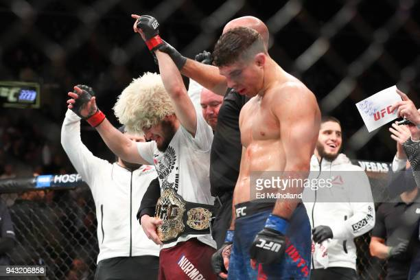 Khabib Nurmagomedov celebrates his win over Al Iaquinta to capture the UFC lightweight championship at UFC 223 at Barclays Center on April 7 2018 in...