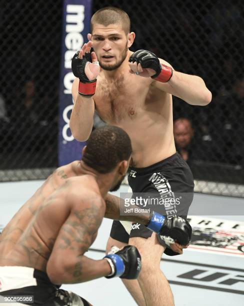 Khabib Nurmagomedov faces Michael Johnson in their lightweight fight during the UFC 205 event at Madison Square Garden on November 12 2016 in New...