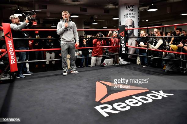 Khabib Nurmagomedov interacts with fans and media at Reebok Headquarters on January 17 2018 in Boston Massachusetts
