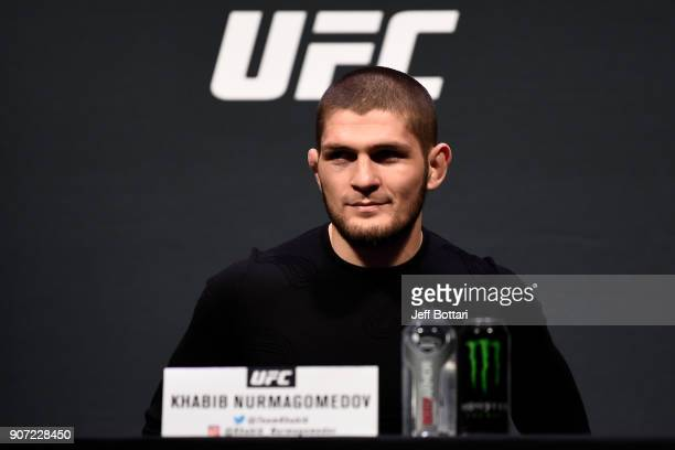 Khabib Nurmagomedov interacts with fans and media during the UFC press conference at TD Garden on January 19 2018 in Boston Massachusetts