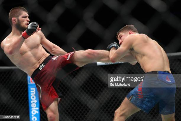 Khabib Nurmagomedov lands a kick on Al Iaquinta during their UFC lightweight championship bout at UFC 223 at Barclays Center on April 7 2018 in New...