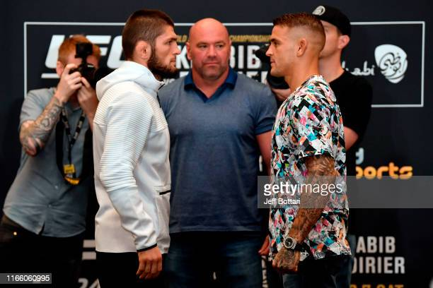 Khabib Nurmagomedov of Russia and Dustin Poirier face off during the UFC 242 Ultimate Media Day at the Yas Hotel on September 5 2019 in Abu Dhabi...