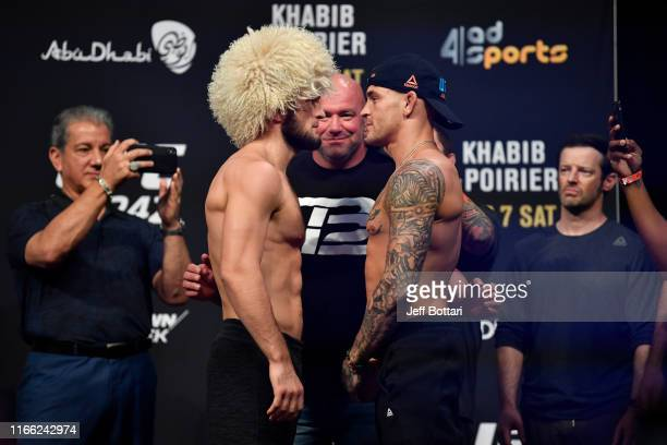 Khabib Nurmagomedov of Russia and Dustin Poirier face off during the UFC 242 weighin at The Arena on September 6 2019 in Abu Dhabi United Arab...