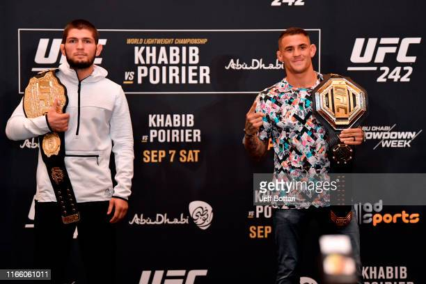 Khabib Nurmagomedov of Russia and Dustin Poirier pose for media during the UFC 242 Ultimate Media Day at the Yas Hotel on September 5 2019 in Abu...
