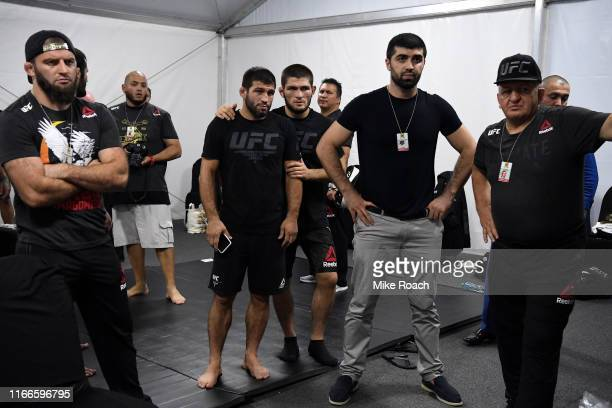 Khabib Nurmagomedov of Russia and his team wait backstage during UFC 242 at The Arena on September 7 2019 in Yas Island Abu Dhabi United Arab Emirates