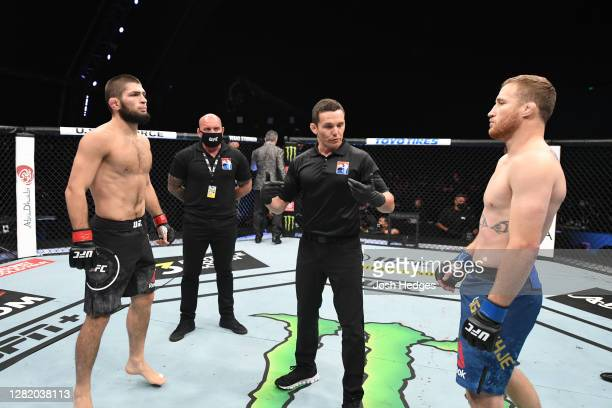 Khabib Nurmagomedov of Russia and Justin Gaethje face off prior to their lightweight title bout during the UFC 254 event on October 25, 2020 on UFC...