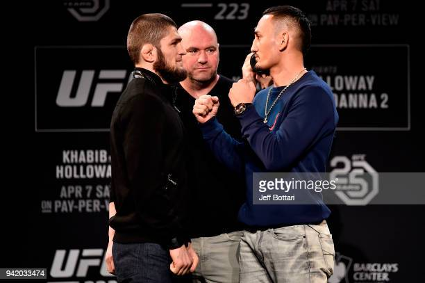 Khabib Nurmagomedov of Russia and Max Holloway face off during the UFC 223 Press Conference at the Music Hall of Williamsburg on April 4 2018 in...