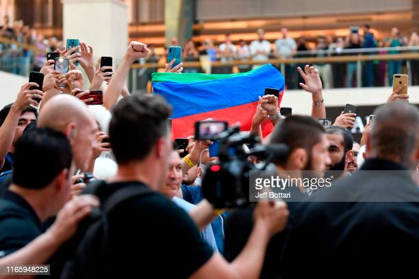 Khabib Nurmagomedov of Russia arrives during the UFC 242 Open Workouts at Yas Mall on September 4 2019 in Abu Dhabi United Arab Emirates