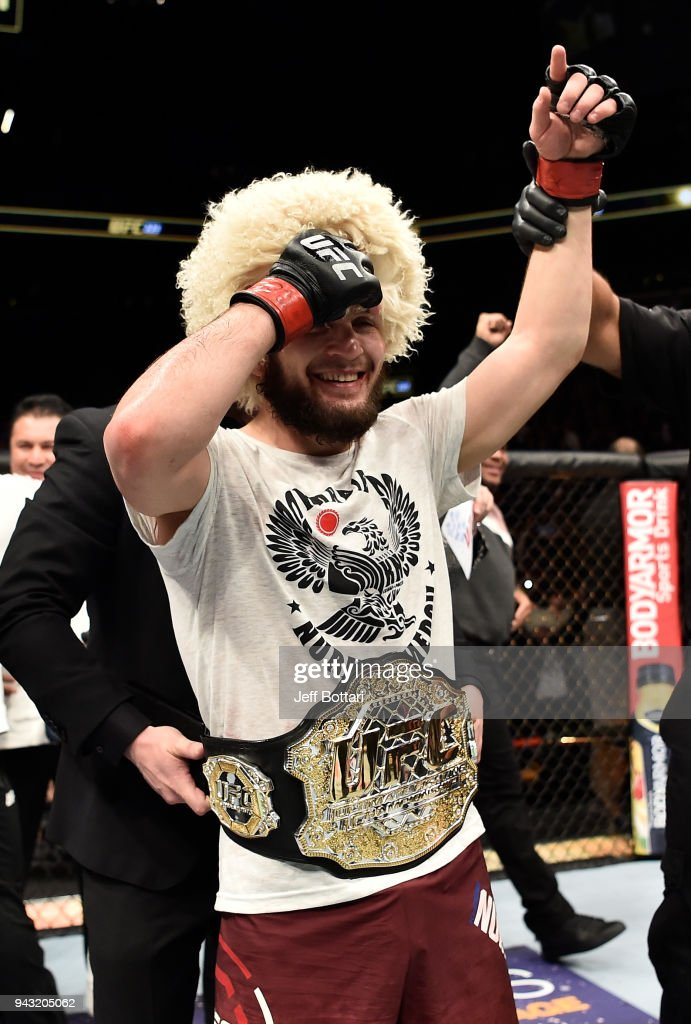 Khabib Nurmagomedov of Russia celebrates after his unanimous-decision victory over Al Iaquinta in their lightweight title bout during the UFC 223 event inside Barclays Center on April 7, 2018 in Brooklyn, New York.