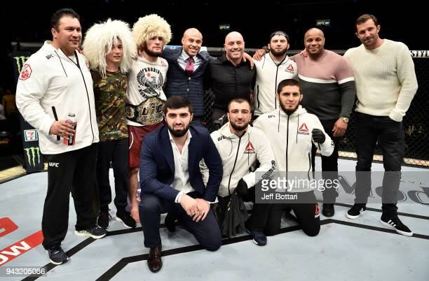 Khabib Nurmagomedov of Russia celebrates after his unanimousdecision victory over Al Iaquinta in their lightweight title bout during the UFC 223...