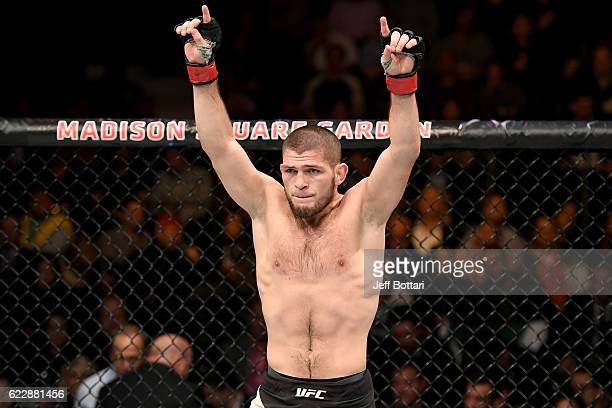 Khabib Nurmagomedov of Russia celebrates his KO victory over Michael Johnson of the United States in their lightweight bout during the UFC 205 event...