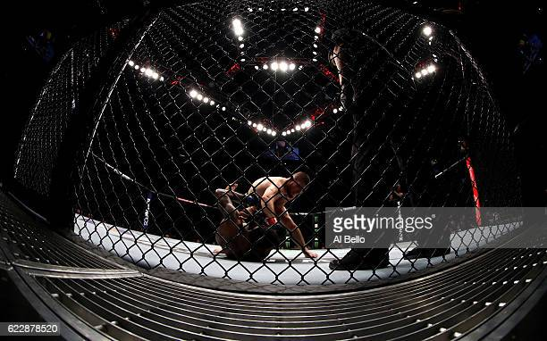 Khabib Nurmagomedov of Russia fights against Michael Johnson of the United States in their lightweight bout during the UFC 205 event at Madison...