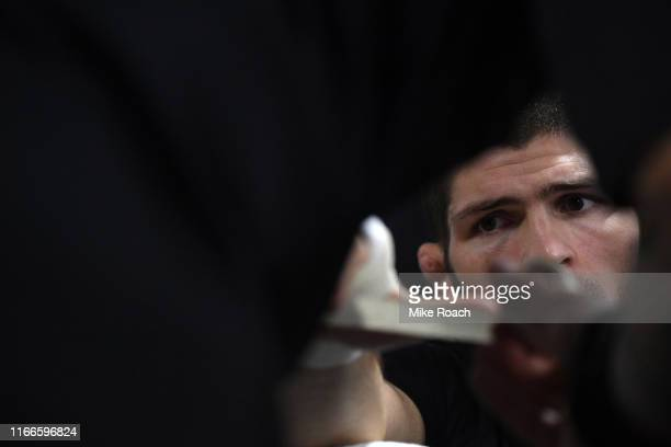 Khabib Nurmagomedov of Russia has his hands wrapped backstage during UFC 242 at The Arena on September 7 2019 in Yas Island Abu Dhabi United Arab...