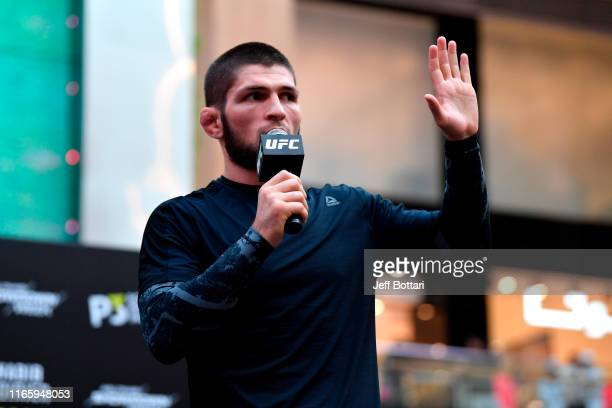 Khabib Nurmagomedov of Russia holds an open training session for fans and media at Yas Mall on September 4 2019 in Abu Dhabi United Arab Emirates