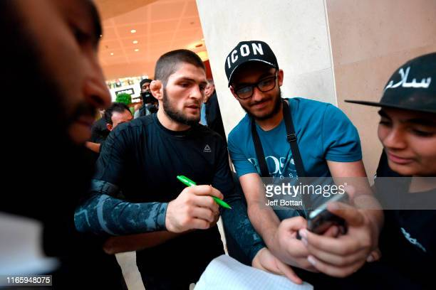 Khabib Nurmagomedov of Russia interacts with fans at Yas Mall on September 4 2019 in Abu Dhabi United Arab Emirates