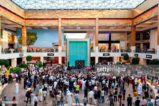 Khabib Nurmagomedov of Russia interacts with fans during the UFC 242 Open Workouts at Yas Mall on September 4 2019 in Abu Dhabi United Arab Emirates