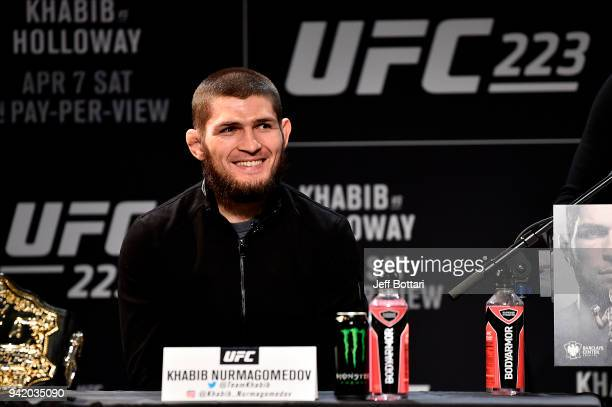 Khabib Nurmagomedov of Russia interacts with media and fans during the UFC 223 Press Conference at the Music Hall of Williamsburg on April 4 2018 in...