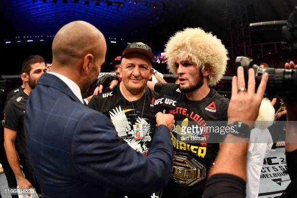Khabib Nurmagomedov of Russia is interviewed after his submission victory over Dustin Poirier in their lightweight championship bout during UFC 242...