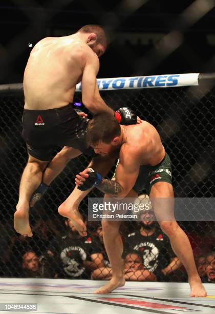 Khabib Nurmagomedov of Russia jumps into Conor McGregor of Ireland in their UFC lightweight championship bout during the UFC 229 event inside TMobile...