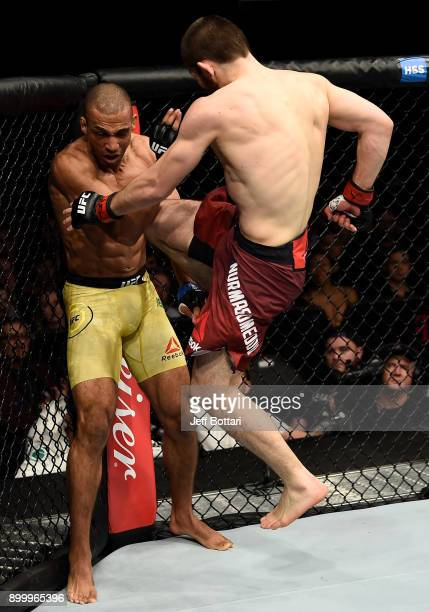 Khabib Nurmagomedov of Russia lands a flying knee against Edson Barboza of Brazil in their lightweight bout during the UFC 219 event inside TMobile...