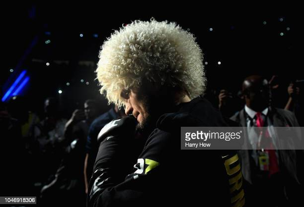 Khabib Nurmagomedov of Russia makes his entrance before competing against Conor McGregor of Ireland in their UFC lightweight championship bout during...