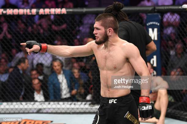 Khabib Nurmagomedov of Russia points to Conor McGregor of Ireland corner in their UFC lightweight championship bout during the UFC 229 event inside...