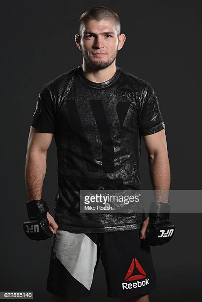 Khabib Nurmagomedov of Russia poses for a portrait backstage after his submission victory over Michael Johnson during the UFC 205 event at Madison...