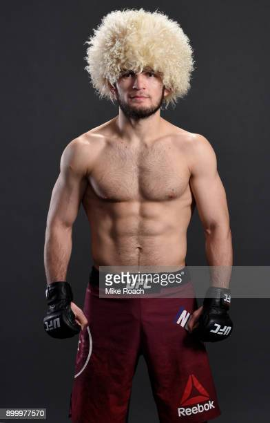 Khabib Nurmagomedov of Russia poses for a portrait backstage after his victory over Edson Barboza during the UFC 219 event inside TMobile Arena on...
