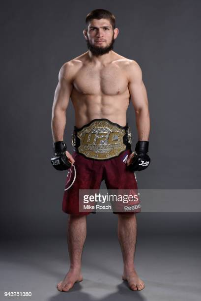 Khabib Nurmagomedov of Russia poses for a portrait backstage after his victory over Al Iaquinta during the UFC 223 event inside Barclays Center on...