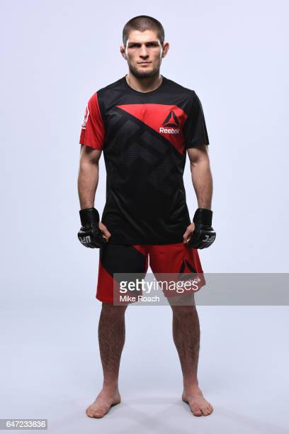Khabib Nurmagomedov of Russia poses for a portrait during a UFC photo session inside TMobile Arena on March 1 2017 in Las Vegas Nevada