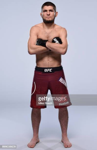 Khabib Nurmagomedov of Russia poses for a portrait during a UFC photo session on December 26 2017 in Las Vegas Nevada