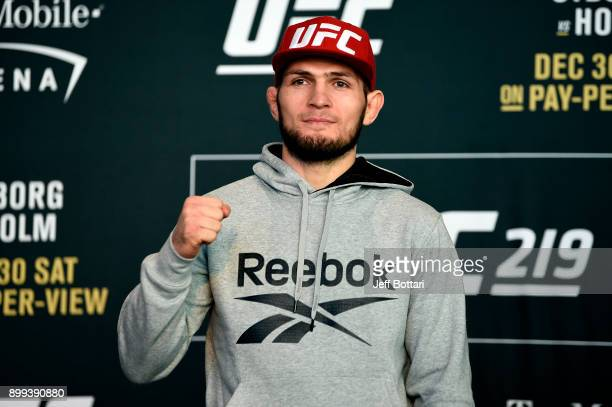 Khabib Nurmagomedov of Russia poses for the media during the UFC 219 Ultimate Media Day inside TMobile Arena on December 28 2017 in Las Vegas Nevada