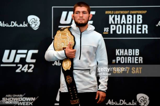 Khabib Nurmagomedov of Russia poses for the media during the UFC 242 Ultimate Media Day at the Yas Hotel on September 5 2019 in Abu Dhabi United Arab...