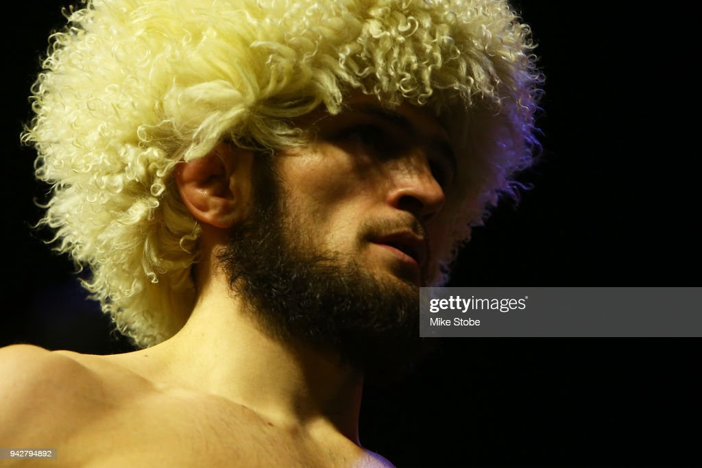 Khabib Nurmagomedov of Russia poses on the scale during the UFC 223 weigh-in at Barclays Center on April 6, 2018 in New York City.
