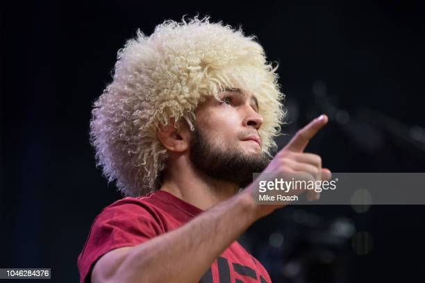Khabib Nurmagomedov of Russia poses on the scale during the UFC 229 weighin inside TMobile Arena on October 5 2018 in Las Vegas Nevada
