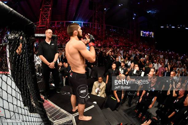 Khabib Nurmagomedov of Russia prepares to enter the Octagon prior to his lightweight championship bout against Dustin Poirier during UFC 242 at The...