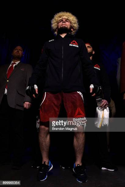 Khabib Nurmagomedov of Russia prepares to face Edson Barboza in their lightweight bout during the UFC 219 event inside TMobile Arena on December 30...