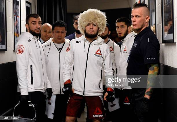 Khabib Nurmagomedov of Russia prepares to fight Al Iaquinta during the UFC 223 event inside Barclays Center on April 7 2018 in Brooklyn New York