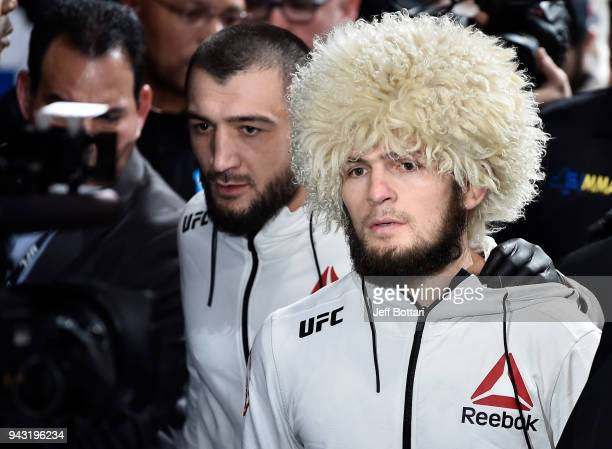Khabib Nurmagomedov of Russia prepares to fight Al Iaquinta in their lightweight title bout during the UFC 223 event inside Barclays Center on April...