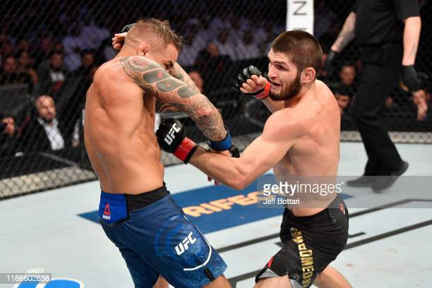 Khabib Nurmagomedov of Russia punches Dustin Poirier in their lightweight championship bout during UFC 242 at The Arena on September 7 2019 in Yas...