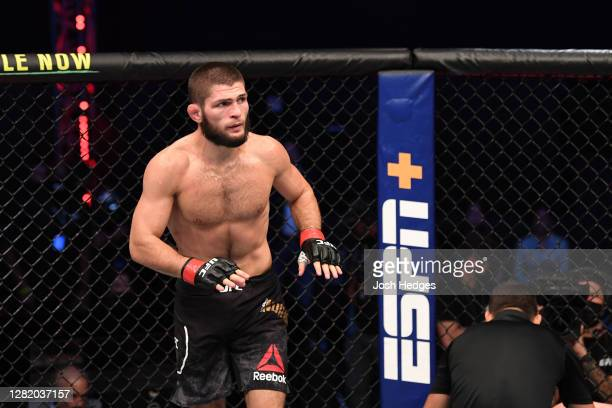 Khabib Nurmagomedov of Russia reacts after his submission victory over Justin Gaethje in their lightweight title bout during the UFC 254 event on...