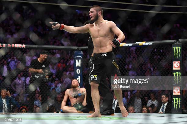 Khabib Nurmagomedov of Russia reacts after submitting Conor McGregor of Ireland in their UFC lightweight championship bout during the UFC 229 event...