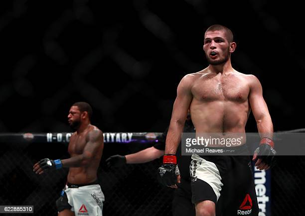 Khabib Nurmagomedov of Russia reacts against Michael Johnson of the United States in their lightweight bout during the UFC 205 event at Madison...