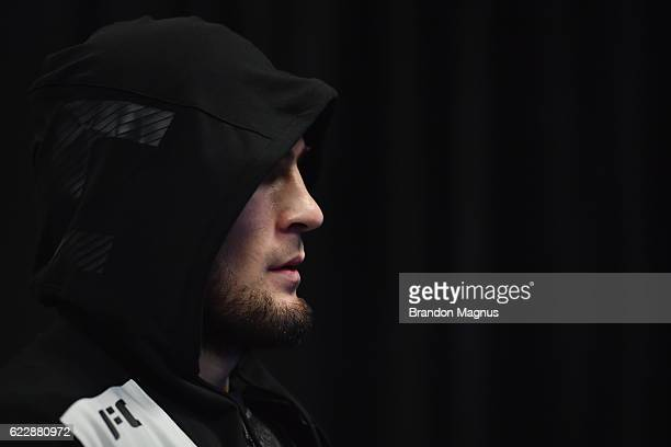 Khabib Nurmagomedov of Russia relaxes in his locker room prior to his lightweight fight against Michael Johnson during the UFC 205 event at Madison...