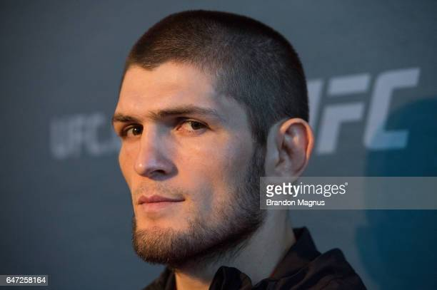 Khabib Nurmagomedov of Russia speaks to the media during the UFC 209 Ultimate Media Day inside TMobile Arena on March 2 2017 in Las Vegas Nevada