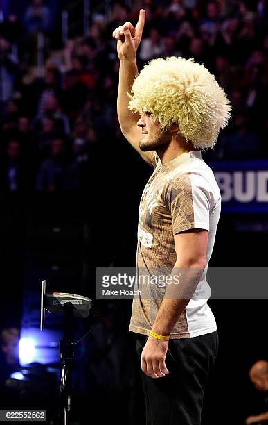 Khabib Nurmagomedov of Russia steps onto the scale during the UFC 205 weighin inside Madison Square Garden on November 11 2016 in New York City